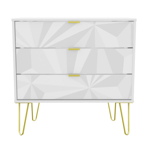 Hong Kong Triangle White 3 Drawer Chest with Gold Hairpin Legs