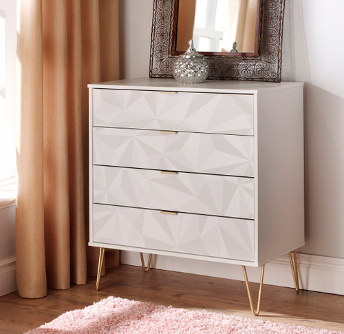 Hong Kong Triangle White 4 Drawer Chest with Gold Hairpin Legs