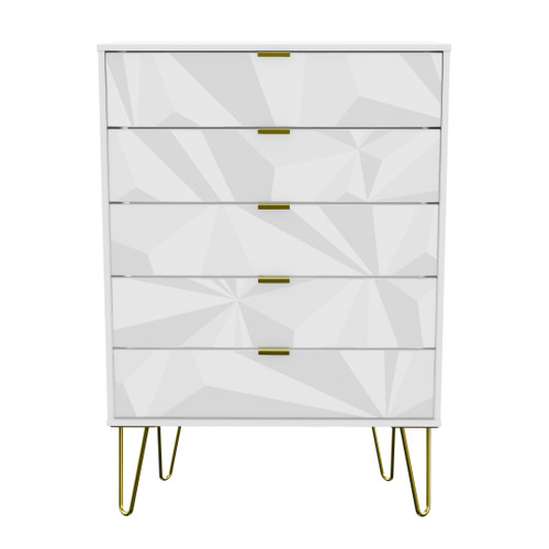 Hong Kong Triangle White 5 Drawer Chest with Gold Hairpin Legs