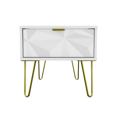 Hong Kong Triangle White 1 Drawer Bedside Cabinet with Gold Hairpin Legs