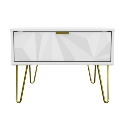 Hong Kong Triangle White 1 Drawer Midi Chest with Gold Hairpin Legs
