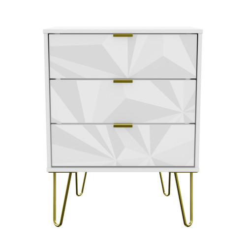 Hong Kong Triangle White 3 Drawer Midi Chest with Gold Hairpin Legs