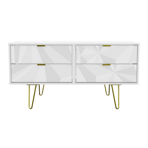 Hong Kong Triangle White 4 Drawer Bed Box with Gold Hairpin Legs
