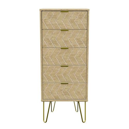 Hong Kong Jigsaw Bardolino 5 Drawer Bedside Cabinet with Gold Hairpin Legs