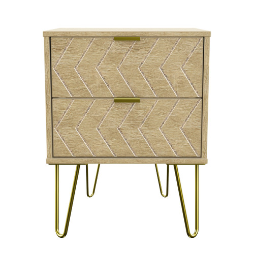 Hong Kong Jigsaw Bardolino 2 Drawer Bedside Cabinet with Gold Hairpin Legs