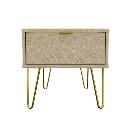 Hong Kong Jigsaw Bardolino 1 Drawer Bedside Cabinet with Gold Hairpin Legs