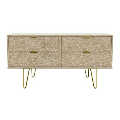 Hong Kong Jigsaw Bardolino 4 Drawer Bed Box with Gold Hairpin Legs