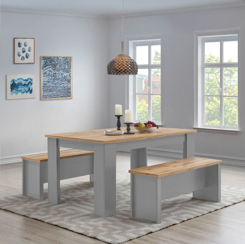 Lisbon Grey Dining Table 150cm with 2 Benches