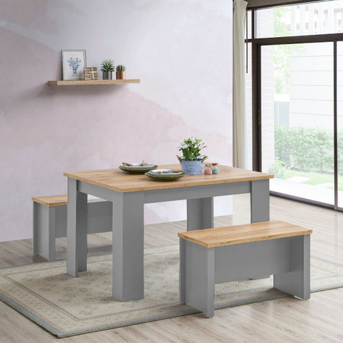 Lisbon Grey Dining Table 120cm with 2 Benches