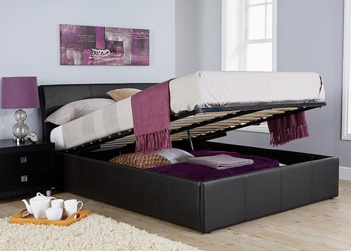 Ascot Faux Leather Ottoman Bed
