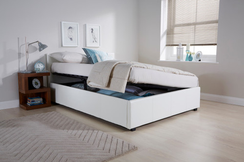 Side Lift Ottoman Bed in White Faux Leather