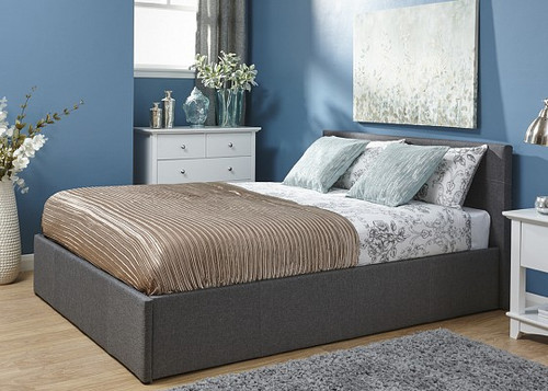 Side Lift Ottoman Bed in Silver Fabric