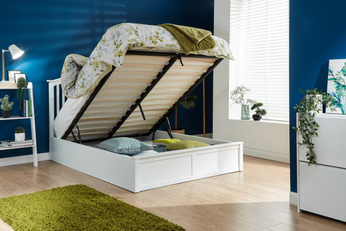 Madrid White End Lift Ottoman Bed