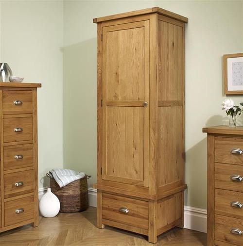 Woburn Solid Oak 1 Door 1 Drawer Wardrobe