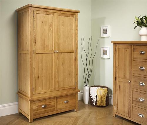 Woburn Solid Oak 2 Door 2 Drawer Wardrobe