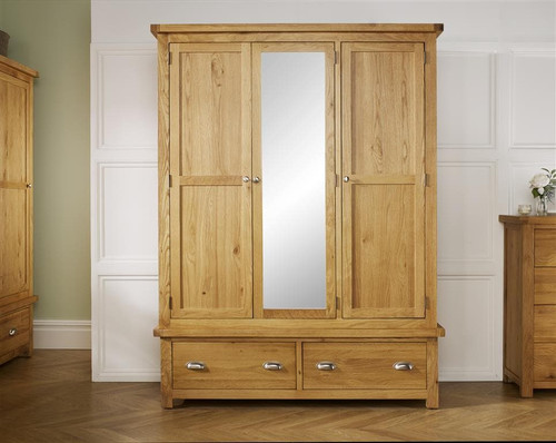 Woburn Solid Oak 3 Door 2 Drawer Wardrobe