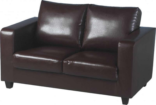 Tempo Brown 2 Seater Faux Leather Sofa