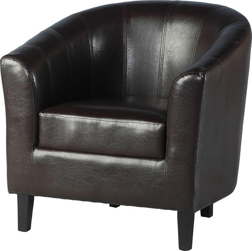 Tempo Brown Faux Leather Tub Chair