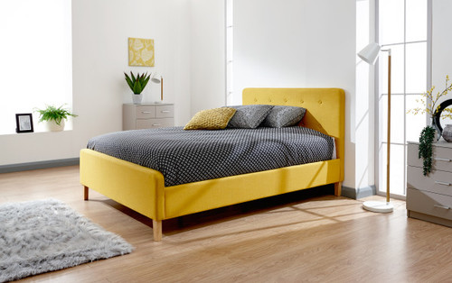 Ashbourne Mustard Double Fabric Bed