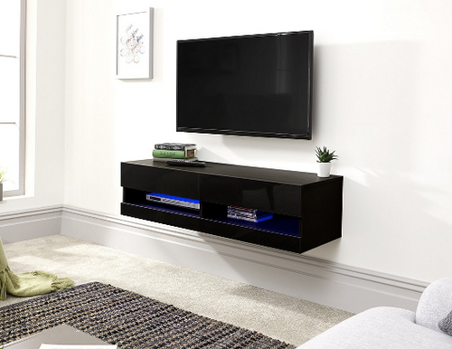 Galicia Black Wall Mounted TV Unit 120cm