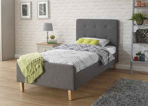 Ashbourne Charcoal Grey Fabric Bed