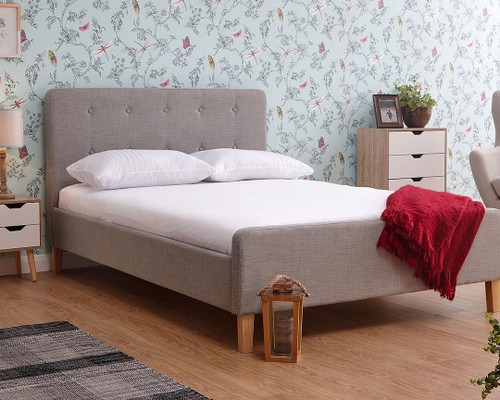 Ashbourne Light Grey Fabric Bed