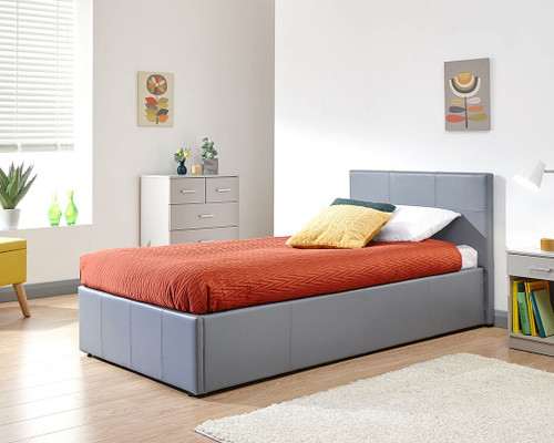 Side Lift Ottoman Bed in Grey Faux Leather