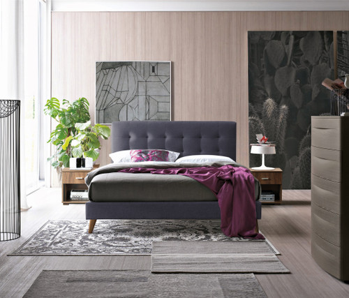 Novara Bed in Charcoal Grey