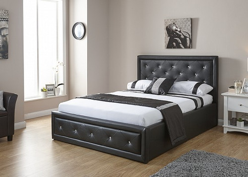 Hollywood Black Ottoman Bed