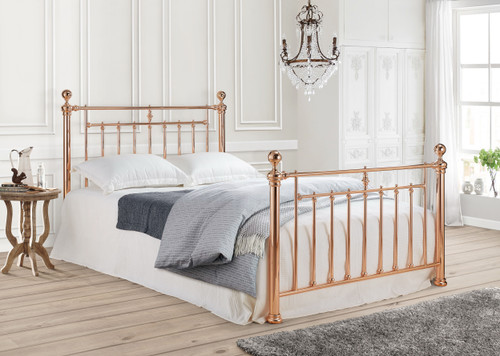 Alexander Metal Bed in Rose Gold