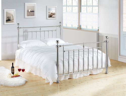 Alexander Metal Bed in Chrome