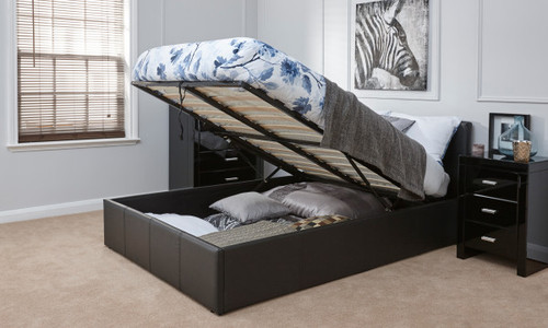 End Lift Ottoman Bed in Black Faux Leather