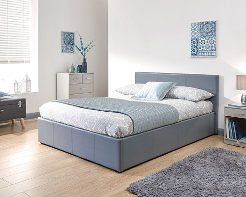 End Lift Ottoman Bed in Grey Faux Leather