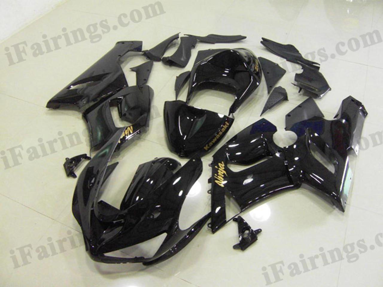 ZX6R 636 2005 2006 glossy black fairings, 2005 2006 ZX6R decals
