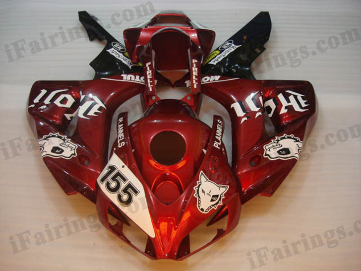 Honda CBR1000RR 2006 2007 Custom red/black fairing kits, this Honda CBR1000RR 2006 2007 plastics was applied in Custom red/blackgraphics, this 2006 2007 CBR1000RR fairing set comes with the both color and decals shown as the photo.If you want to do custom fairings for CBR1000RR 2006 2007,our talented airbrusher will custom it for you.