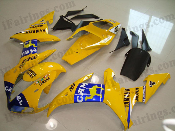 Yamaha YZF-R1 2002 2003 Camel replica fairing kits, this Yamaha YZF-R1 2002 2003 plastics was applied in Camel replica graphics, this 2002 2003 YZF-R1 fairing set comes with the both color and decals shown as the photo.If you want to do custom fairings for YZF-R1 2002 2003,our talented airbrusher will custom it for you.