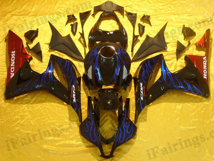 Honda CBR600RR 2007 2008 black and blue flame fairing kits, this Honda CBR600RR 2007 2008 plastics was applied in black and blue flamegraphics, this 2007 2008 CBR600RR fairing set comes with the both color and decals shown as the photo.If you want to do custom fairings for CBR600RR 2007 2008,our talented airbrusher will custom it for you