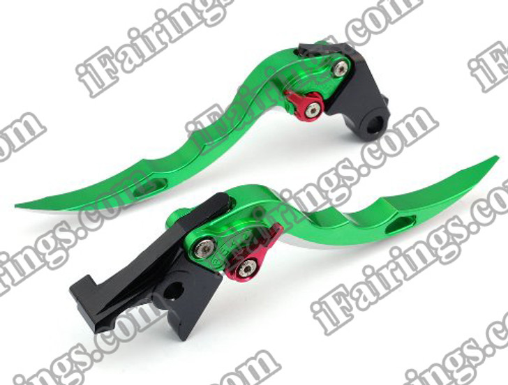 Green CNC blade brake & clutch levers for Suzuki GSXR1000 2000 2001 2002 2003 2004 (F-14/S-248). Our levers are designed as a direct replacement of the stock levers but more benefit over the stock ones