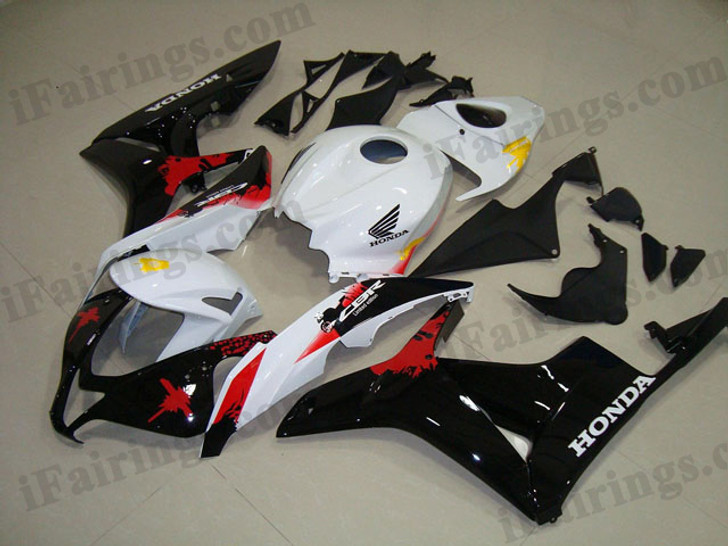 Honda CBR600RR 2007 2008 honda limited edition fairing kits, this Honda CBR600RR 2007 2008 plastics was applied in honda limited editiongraphics, this 2007 2008 CBR600RR fairing set comes with the both color and decals shown as the photo.If you want to do custom fairings for CBR600RR 2007 2008,our talented airbrusher will custom it for you
