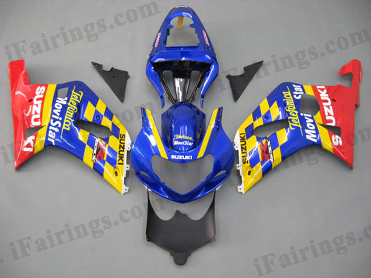 Suzuki GSXR600/750 2001 2002 2003 Telefonica fairing kits, this Suzuki GSXR600/750 2001 2002 2003 plastics was applied in Telefonica graphics, this 2001 2002 2003 GSXR600/750 fairing set comes with the both color and decals shown as the photo.If you want to do custom fairings for GSXR600/750 2001 2002 2003,our talented airbrusher will custom it for you.