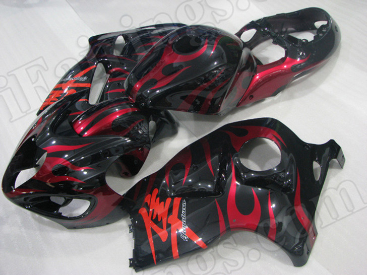 aftermarket fairings and bodywork for 1999 to 2007 Suzuki Hayabusa GSXR 1300, this motorcycle fairings are replacement plastic with various graphics,  they are top quality and oem fairing quality comparable. All the bodywork panels are pre-drilled and 100% precise fit factory bike.
