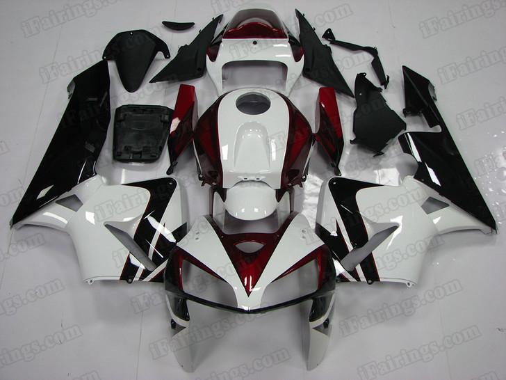 2005 2006 Honda Cbr600rr Red White Black Fairing Kit