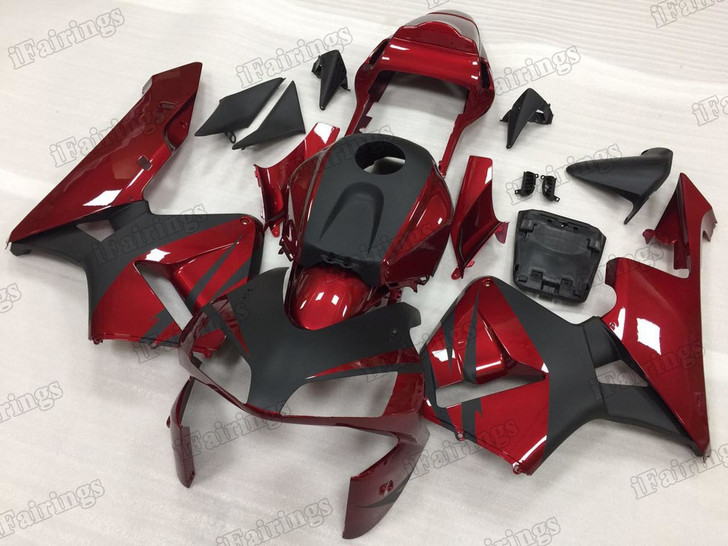 2003 2004 Honda CBR600RR red and black graphic fairing kits, aftermarket fairings and bodywork for 2003 2004 Honda CBR600RR red and black pattern/scheme.