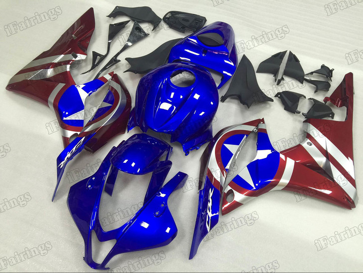 2007 2008 Honda CBR600RR Captain America graphic fairing kits, aftermarket fairings and bodywork for 2007 2008 Honda CBR600RR Captain America pattern/scheme.