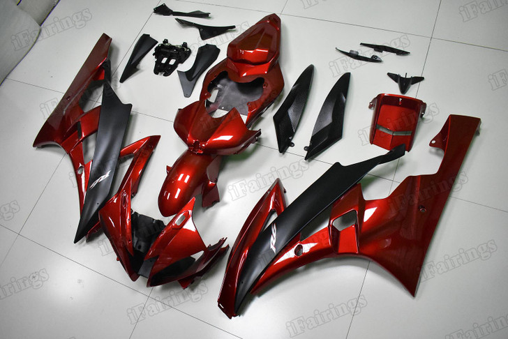 Yamaha R6 2006 2007 candy red and matte black fairings