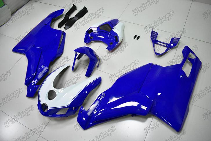 2005 2006 Ducati 749 999 blue and white fairing.