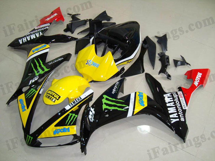 Yamaha YZF-R1 2004 2005 2006 Monster replica fairing kits, this Yamaha YZF-R1 2004 2005 2006 plastics was applied in Monster replicagraphics, this 2004 2005 2006 YZF-R1 fairing set comes with the both color and decals shown as the photo.If you want to do custom fairings for YZF-R1 2004 2005 2006,our talented airbrusher will custom it for you.