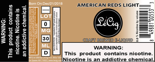 US Made American Reds Light eJuice