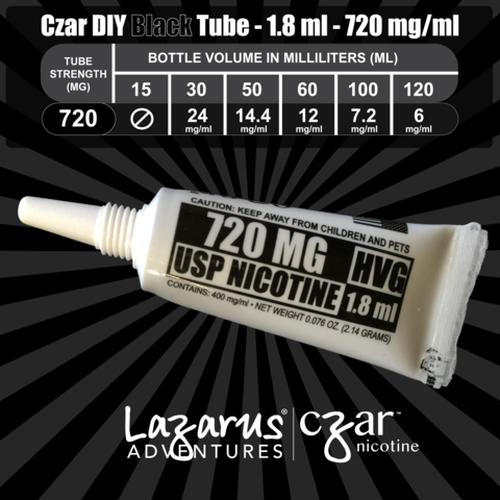 cZar 720 Black - 45 Single Use Nicotine Tubes