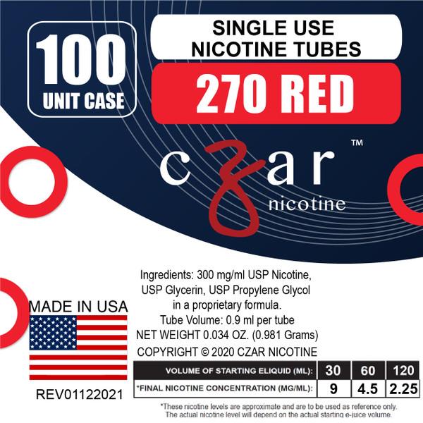 cZar 270 Red - 100 Single Use Nicotine Tubes